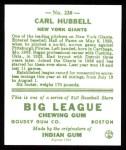 1933 Goudey Reprint #230  Carl Hubbell  Back Thumbnail