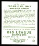 1933 Goudey Reprint #134  Sam Rice  Back Thumbnail