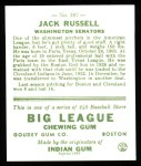 1933 Goudey Reprint #167  Jack Russell  Back Thumbnail