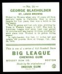 1933 Goudey Reprint #16  George Blaeholder  Back Thumbnail