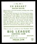 1933 Goudey Reprint #50  Ed Brandt  Back Thumbnail