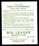 1933 Goudey Reprint #130  Fred Fitzsimmons  Back Thumbnail