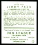 1933 Goudey Reprint #29  Jimmie Foxx  Back Thumbnail