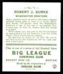 1933 Goudey Reprint #71  Robert Burke  Back Thumbnail
