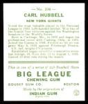 1933 Goudey Reprint #234  Carl Hubbell  Back Thumbnail