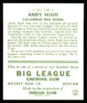 1933 Goudey Reprint #182  Andy High  Back Thumbnail