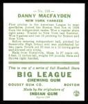 1933 Goudey Reprint #156  Danny MacFayden  Back Thumbnail