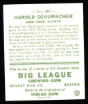 1933 Goudey Reprint #240  Hal Schumacher  Back Thumbnail