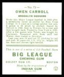 1933 Goudey Reprint #72  Owen Carroll  Back Thumbnail