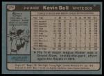 1980 Topps #379  Kevin Bell  Back Thumbnail