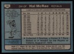1980 Topps #185  Hal McRae  Back Thumbnail