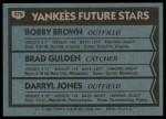 1980 Topps #670   -  Bobby Brown / Brad Gulden / Darryl Jones Yankees Rookies Back Thumbnail