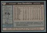 1980 Topps #571  Joe Sambito  Back Thumbnail