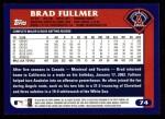 2003 Topps #74  Brad Fullmer  Back Thumbnail