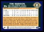 2003 Topps #558  Tim Hudson  Back Thumbnail