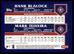 2003 Topps #324  Hank Blalock / Mark Teixeira  Back Thumbnail