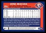 2003 Topps #524  Jose Macias  Back Thumbnail