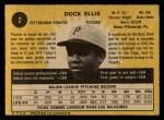1971 O-Pee-Chee #2  Dock Ellis  Back Thumbnail