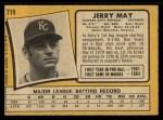 1971 O-Pee-Chee #719  Jerry May  Back Thumbnail