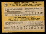 1971 O-Pee-Chee #216   -  Luis Melendez / Reggie Cleveland Cardinals Rookies Back Thumbnail