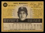 1971 O-Pee-Chee #259  Dave Marshall  Back Thumbnail