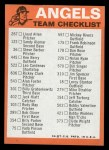 1973 Topps Blue Checklist   Angels Back Thumbnail