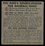1952 Red Man #24 NL x Bobby Thomson  Back Thumbnail