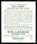 1934 Goudey Reprint #21  Bill Terry  Back Thumbnail