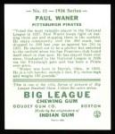1934 Goudey Reprint #11  Paul Waner  Back Thumbnail