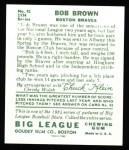 1934 Goudey Reprint #81  Bob Brown  Back Thumbnail