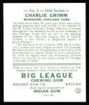 1934 Goudey Reprint #3  Charlie Grimm  Back Thumbnail