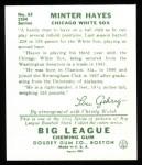 1934 Goudey Reprint #63  Minter Hayes  Back Thumbnail