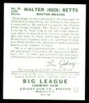 1934 Goudey Reprint #36  Walter Betts  Back Thumbnail