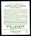1934 Goudey Reprint #19  Lefty Grove  Back Thumbnail