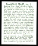 1934 Diamond Stars Reprint #6  Max Bishop  Back Thumbnail
