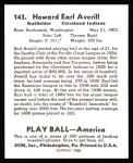 1939 Play Ball Reprint #143  Earl Averill  Back Thumbnail