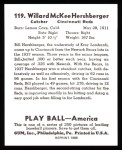 1939 Play Ball Reprint #119  Will Hershberger  Back Thumbnail