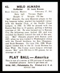 1939 Play Ball Reprint #43  Melo Almada  Back Thumbnail
