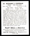 1939 Play Ball Reprint #24  Richard Coffman  Back Thumbnail