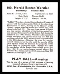 1939 Play Ball Reprint #120  Rabbit Warstler  Back Thumbnail