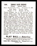 1939 Play Ball Reprint #104  Tom Bridges  Back Thumbnail