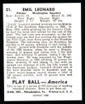 1939 Play Ball Reprint #21  Dutch Leonard  Back Thumbnail