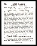 1939 Play Ball Reprint #72  Debs Garms  Back Thumbnail