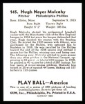1939 Play Ball Reprint #145  Hugh Mulcahy  Back Thumbnail