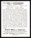 1939 Play Ball Reprint #110  Fred Fitzsimmons  Back Thumbnail