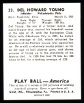 1939 Play Ball Reprint #33  Del Young  Back Thumbnail