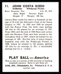 1939 Play Ball Reprint #11  Johnny Rizzo  Back Thumbnail