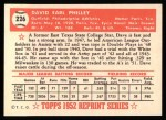 1952 Topps REPRINT #226  Dave Philley  Back Thumbnail