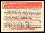1952 Topps REPRINT #243  Larry Doby  Back Thumbnail