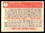 1952 Topps REPRINT #1  Andy Pafko  Back Thumbnail